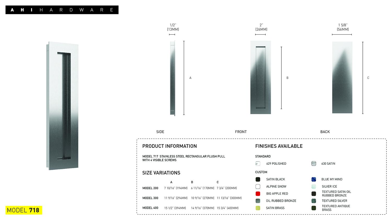 Ahi Hardware Montreal Door Hardware Products No718 Flush Pulls